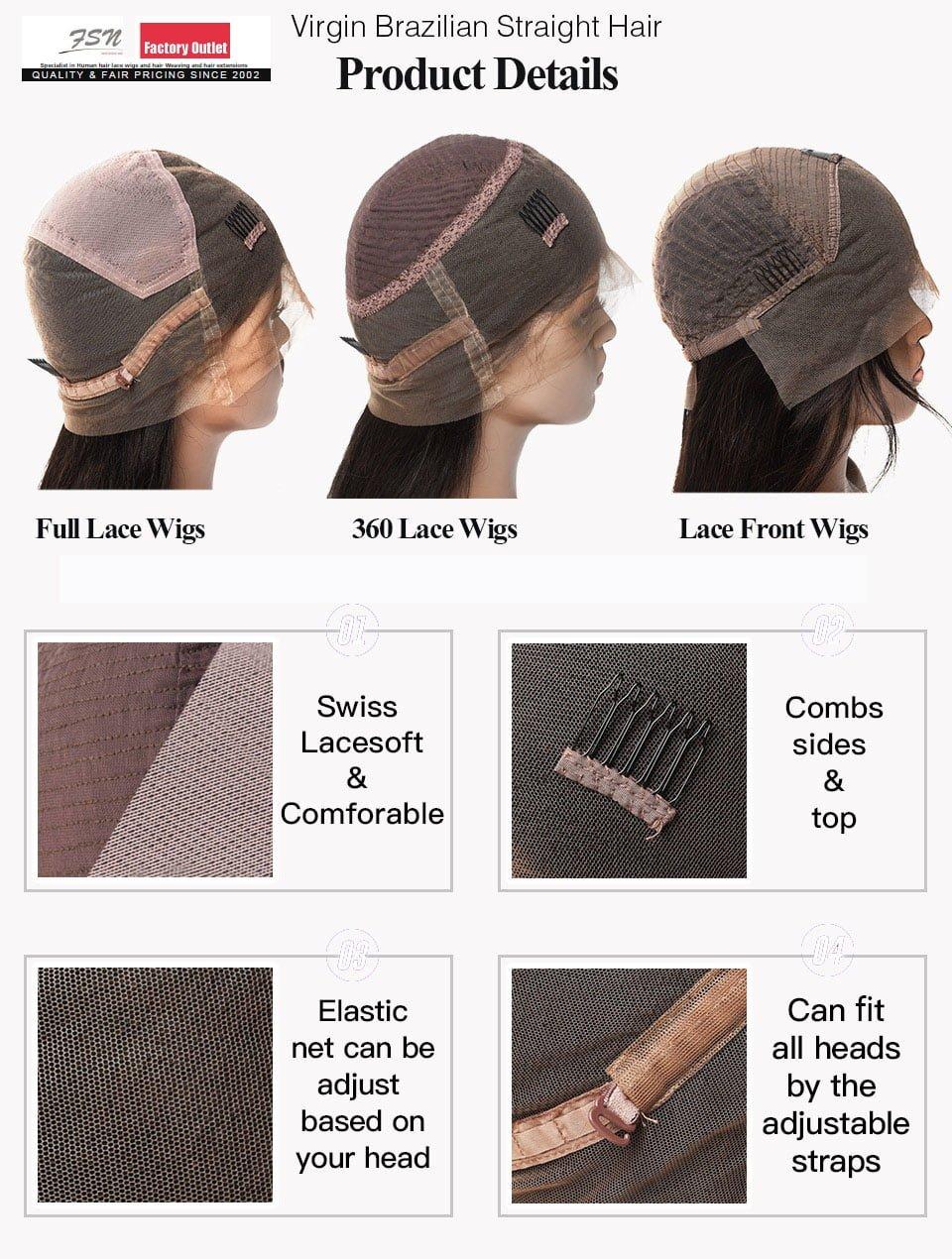 Brazilian Virgin Hair Straight Full Lace Wigs cap style