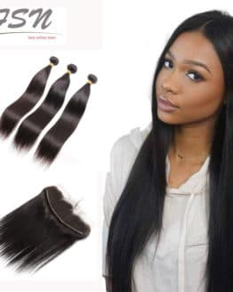 3 Bundles Of Brazilian Hair With Lace Closure